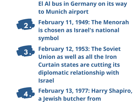 Next Week in Israel's History Feb. 10-13
