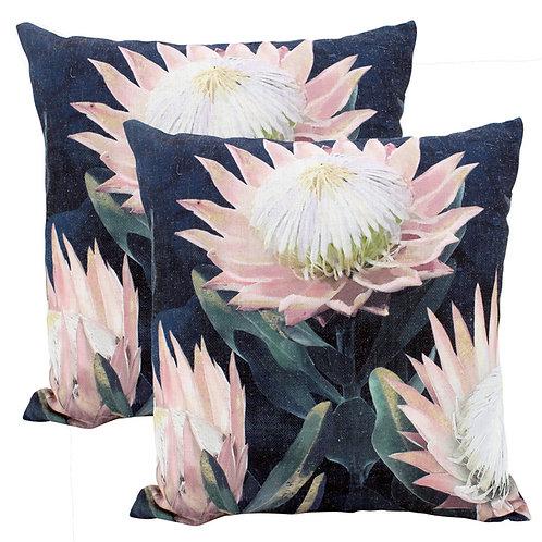 Night Protea Linen Cushion