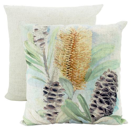 Sarah Gold Flora Linen Cushion