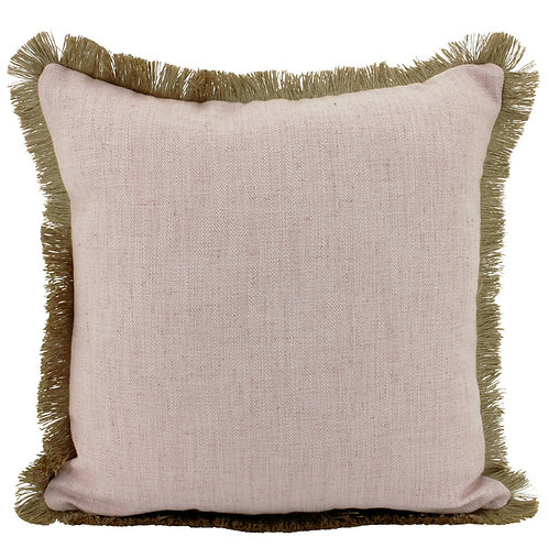 Pink Linen Cushion with Pink Jute Fringe