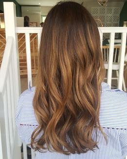Natural long hair balayage