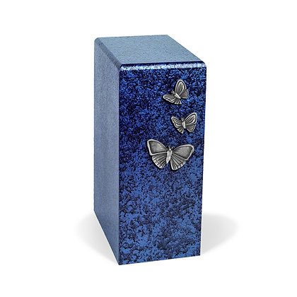 Blue cremation urn with Butterflies