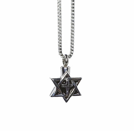 Star of David cremation necklace for ashes
