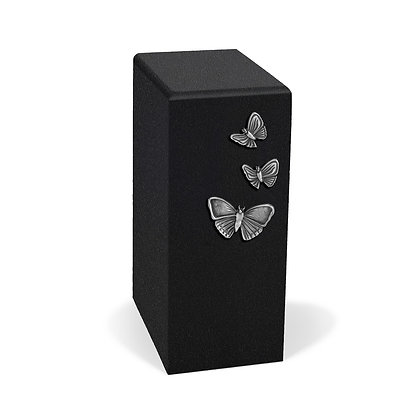 Black and silver cremation urn with Butterflies