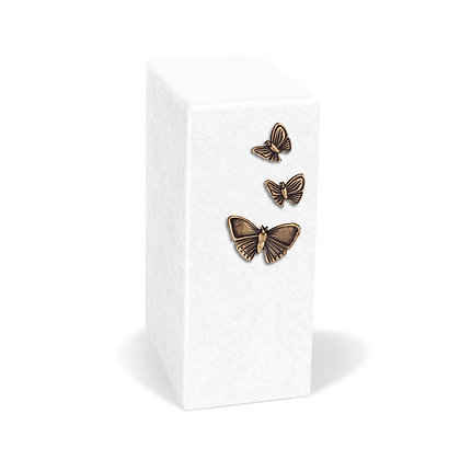 White cremation urn with Butterflies