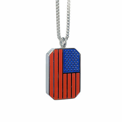 American flag dog tag cremation necklace for ashes
