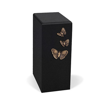 Black and gold cremation urn with Butterflies
