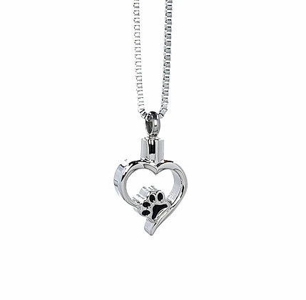 Pet paw cremation necklace for ashes