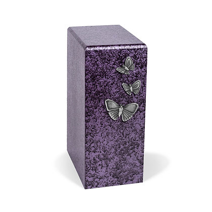 Purple cremation urn with Butterflies