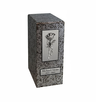 Silver cremation urn with Rose applique