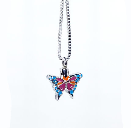 Multi color Butterfly cremation necklace for ashes