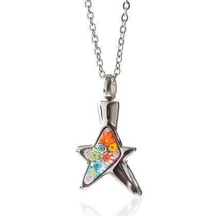 Multi color Fiori star cremation necklace for ashes