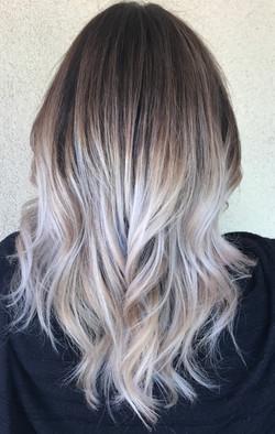 icy blonde balayage hair