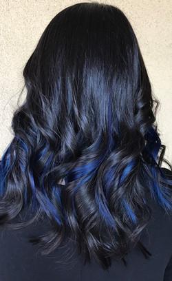 peekaboo highlights blue hair