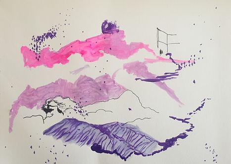 Luísa Prestes. Chuva de luz na montanha vazia II Acrílica e nanquim sobre papel 29,7 x 21 cm 2020