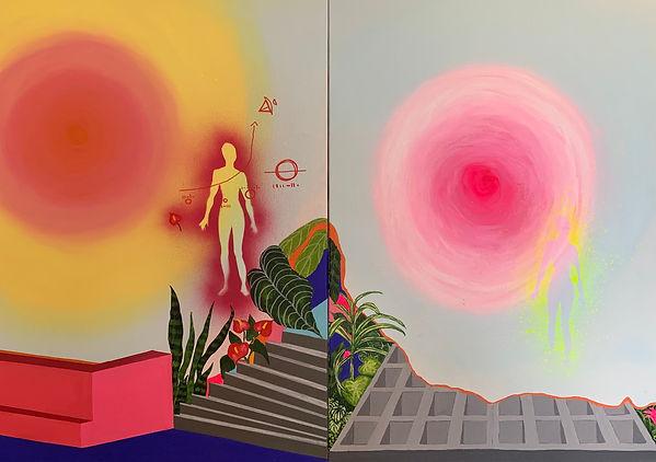 Luísa Prestes. Díptico Técnicas de projeção astral Acrílica sobre tela 100  x  70 cm 2021