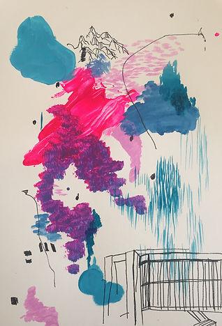 Luísa Prestes. Chuva de luz na montanha vazia Acrílica e nanquim sobre papel 21 x 29,7 cm 2020
