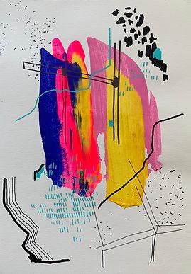Luísa Prestes. Tríptico. Na parede da caverna dançam sombras.  Acrílica e óleo sobre papel. 63 x 29,7 cm. 2020