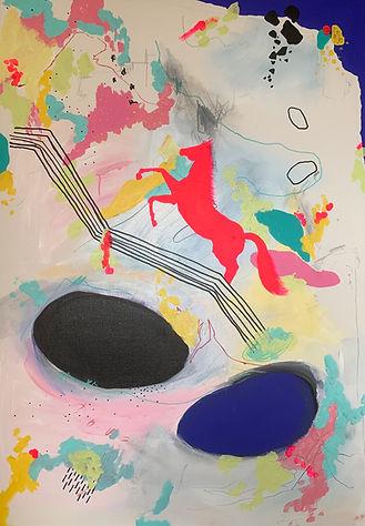 Luísa Prestes. Eu irei como Cavalo Louco Acrílica, óleo e grafite sobre tela 70 x 100 cm 2020