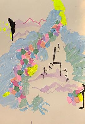 Luísa Prestes. (Tríptico)  Orfeu  no reino da  morte  não deve ver nua sua amada Acrílica e óleo sobre papel 63 x 29,7 cm 2020