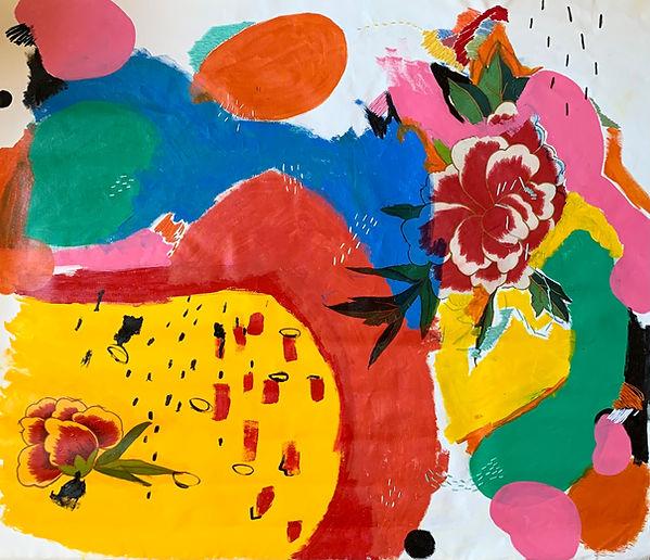 Luísa  Prestes Pintura Sem título Acrílica e bordado sobre tela 100  x  80 cm 2020