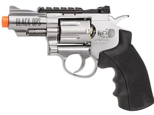 Black Ops WG CO2 Airsoft Revolver, Silver, 2.5