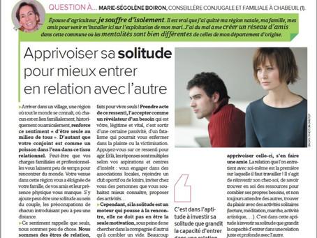 Gérer la solitude , paru dans La France Agricole
