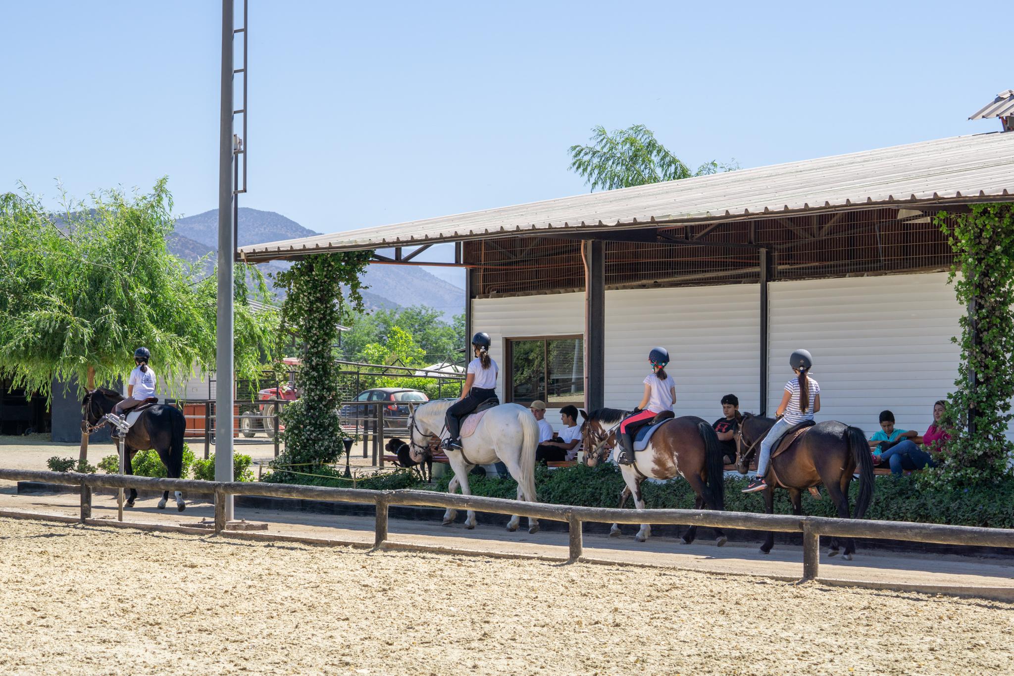 Terminando la clase de equitacion
