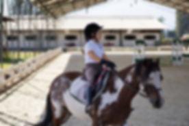 Amazona en clase de equitacion en pony