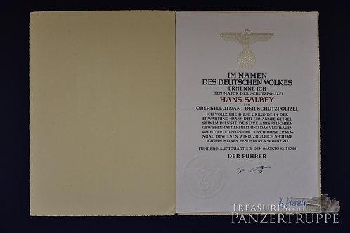 Original H. Himmler Signature on Promotion Doc