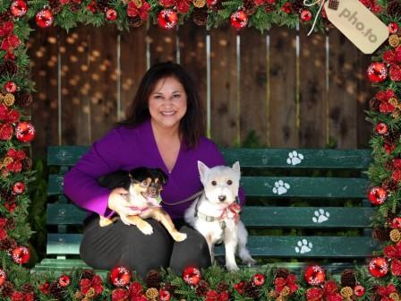adela and dogs with frame
