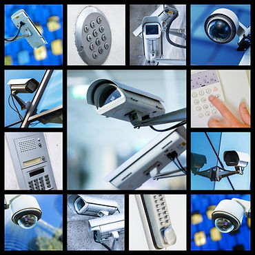 Collage of closeup security CCTV camera or surveillance system