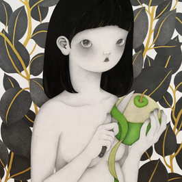 사과깍는 소녀 (girl with green apple)_SOLD