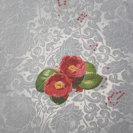 풍류 - 동백은 피고 Taste for the Arts-The Camellia Blossom 2-2, 2017 Panel, Korean paper, pigment, and powder, 82x52 cm