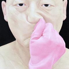 한 사람으로서의 자화상- 분홍장갑2005 72.7cm x 60.6cm oil on canvas 2016.jpg