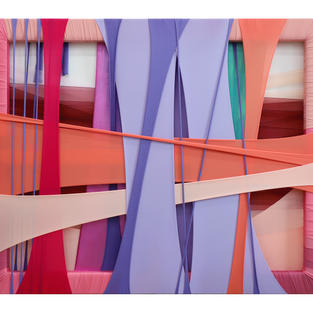 FabricDrawing#98,fabrics,frame,acrylic on canvas,90.9x72.7cm,2021