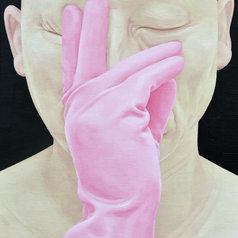 Self-portraits as a person--Pink gloves 2003