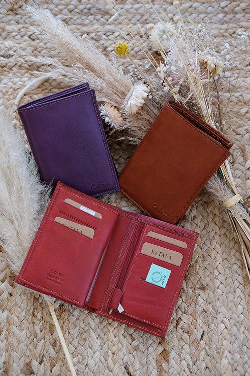 Porte feuille format moyen cuir mat