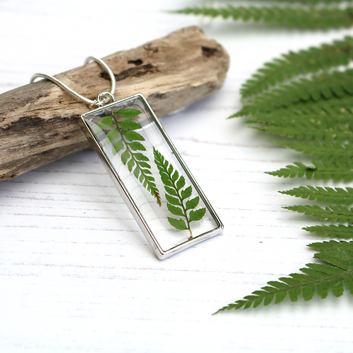 Green fern leaf silver rectangle necklace