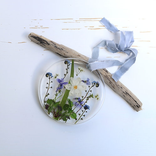 Spring flowers wall hanging, violets, cow parsley, forget me nots, paperwhite