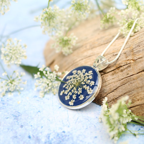 Silver necklace in Navy, with real Queen Anne's Lace flower