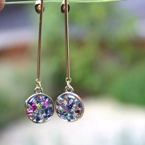 Gold sparkle drop dangle earrings festive Christmas gift