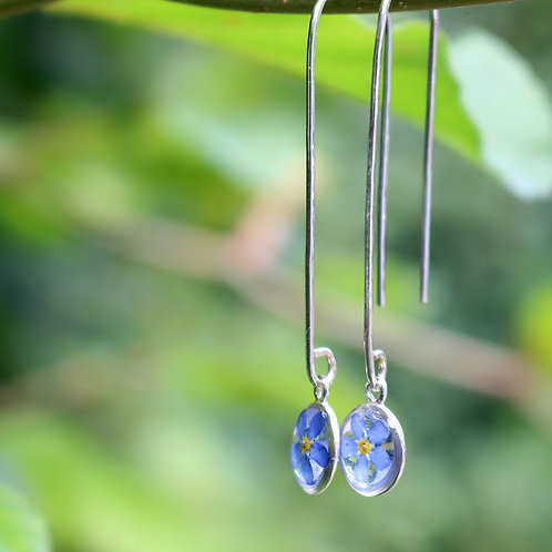 Handmade sterling silver drop dangle earrings with real forget me not flowers