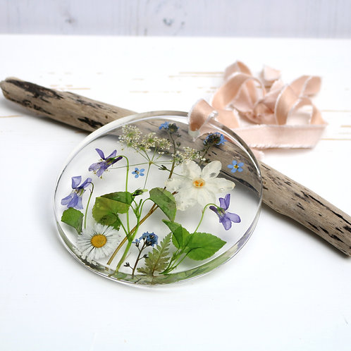 Spring flowers wall hanging, violets, cow parsley, forget me nots, daisy