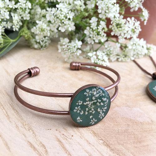 Antique copper bangle in jade green, 7th copper wedding anniversary gift