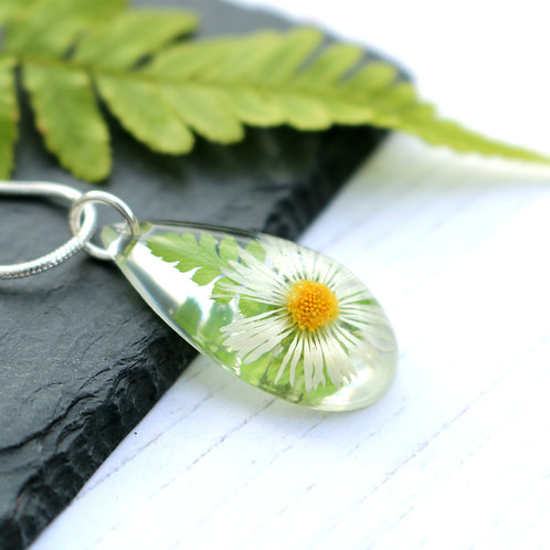 Teardrop necklace with real daisy flower and fern leaf