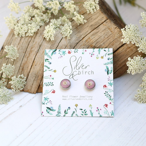 Surgical stainless steel stud earrings in Dusky pink, with real flower
