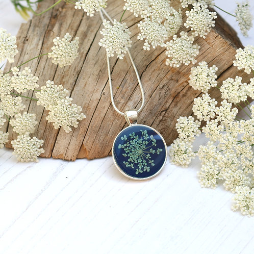 Silver necklace in Navy blue, with real blue Queen Anne's Lace flower
