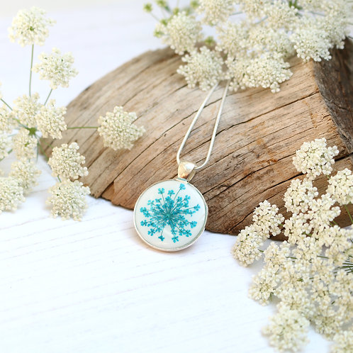 Silver necklace in White, with real teal Queen Anne's Lace flower