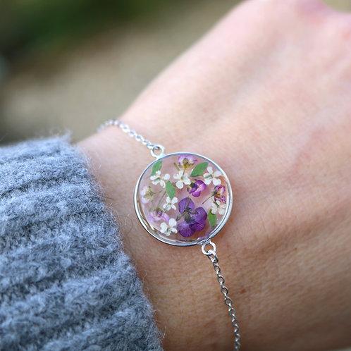 Sterling silver real flower bracelet with purple Alyssum, Ammi Majus, ferns